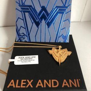 NWT Alex+Ani Wonder Woman Shield Adj Necklace Gold
